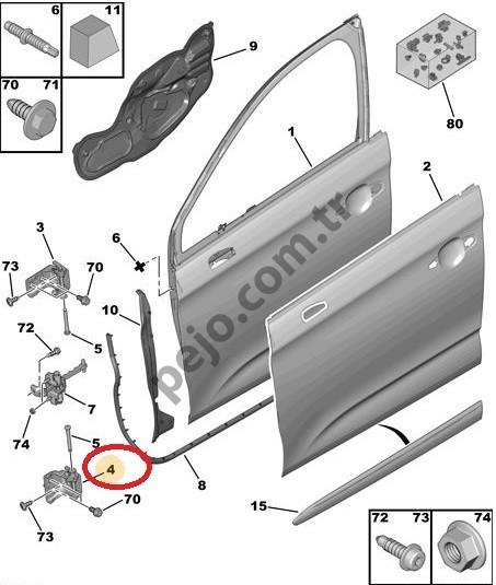 Citroen Ds4 Ön Kapı Alt Menteşesi Sağ